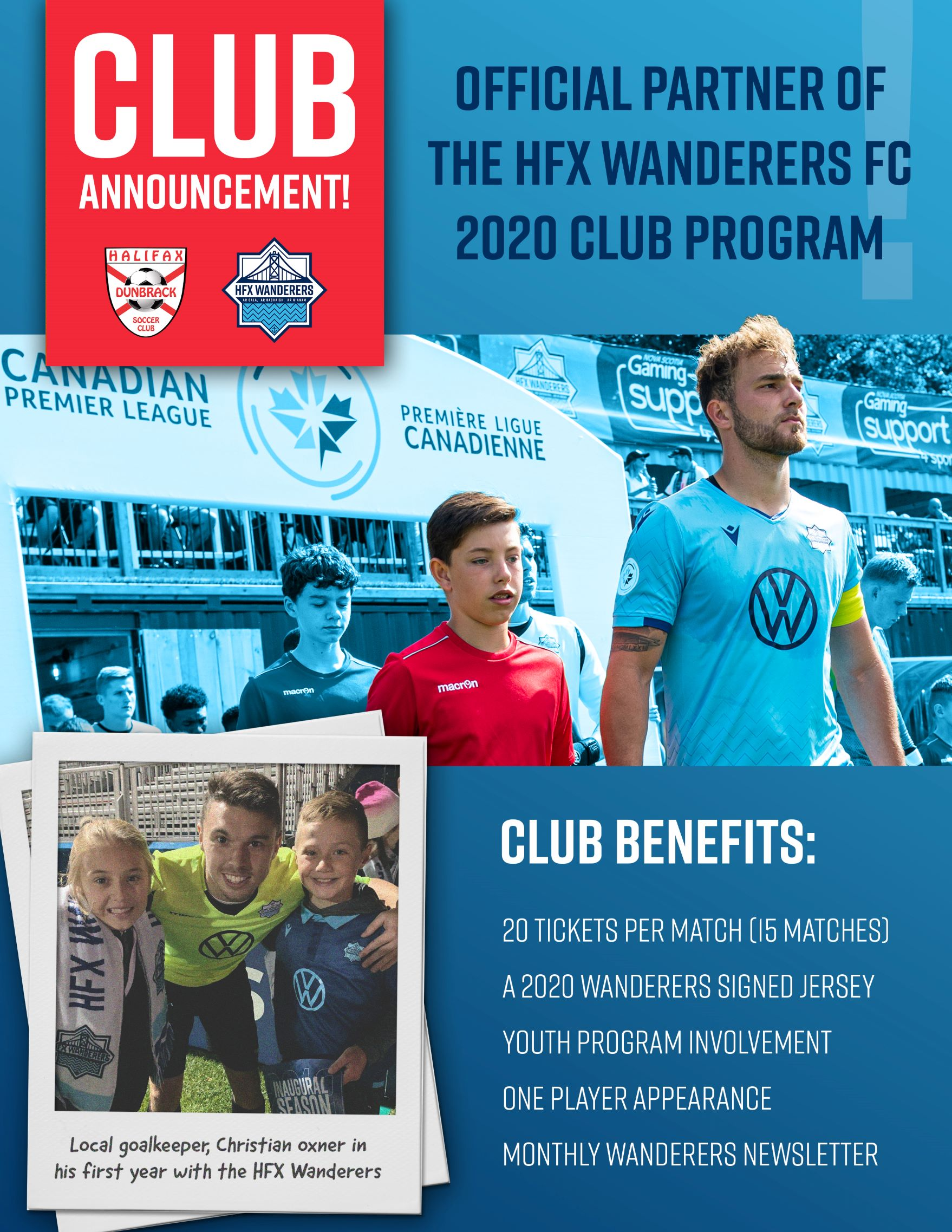Dunbrack Soccer Announces Club Partnership with HFX Wanderers FC!